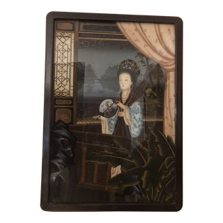 Antique Chinese Reverse Glass Painting Reverse Painted Mirror For Sale