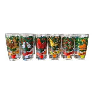 Indiana Glass Company 12 Days of Christmas Glasses - Set of 12 For Sale