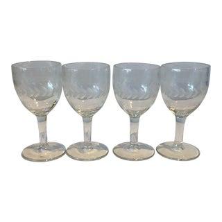 Vintage Crystal Stem Glasses - Set of 4