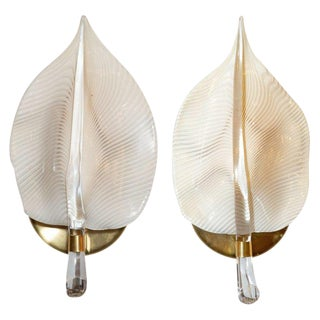 Pair of Mid-Century Modern Handblown Murano Glass Honeycomb Leaf Sconces For Sale