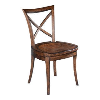 Curved Back Tapered Legs Saddle Side Dining Chair For Sale