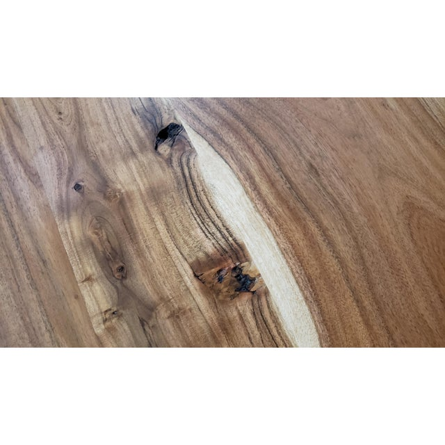 Wood Rustic Live Edge, Acacia Wood Dining Table For Sale - Image 7 of 8