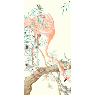 """Chinoiserie Style Flamingo Bird Painting, """"I Pink We're Alone Now"""" For Sale"""