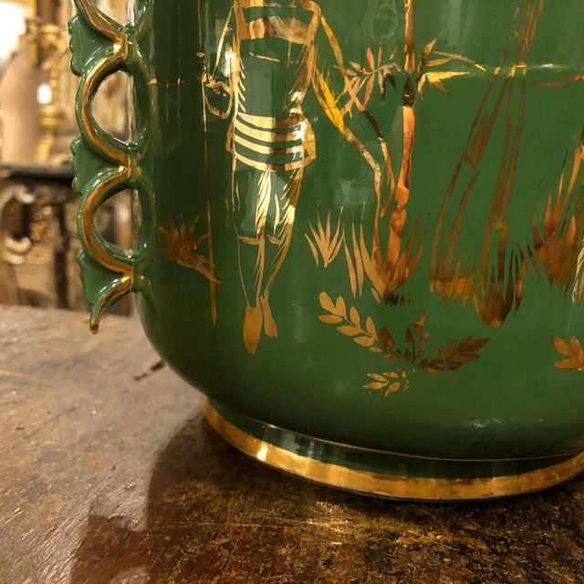 1960s Italian Mid-Century Modern Green and Gold Ceramic Vase For Sale - Image 6 of 13