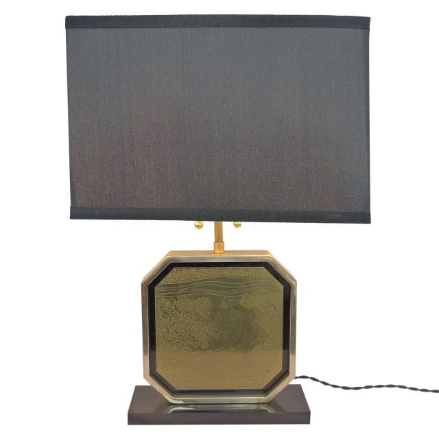 Mid-Century Modern Etched Brass Table Lamp by George Mathias For Sale - Image 3 of 6