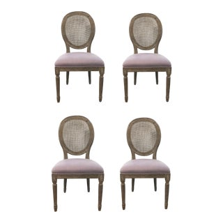 Transitional French Style Cane Back Dining Chairs With Lavender Fabric Set of Four For Sale
