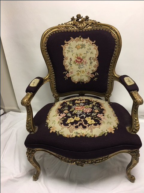 Gold Gilt Louis XV Needlepoint Chair   Image 3 Of 11