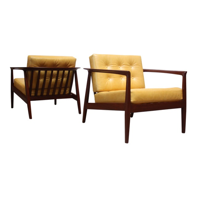 Folke Ohlsson for Dux Swedish Modern Leather and Teak Lounge Chairs- A Pair For Sale