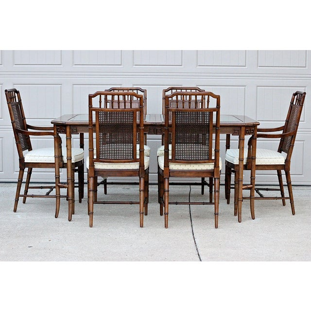 Century Furniture Faux Bamboo Chancellor Rectangular Glass Top Extension Table and Chairs. Constructed of maple solids and...