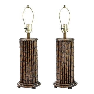 Vintage, C.1970 Palm Beach Bamboo Wood Lamps, A-Pair For Sale
