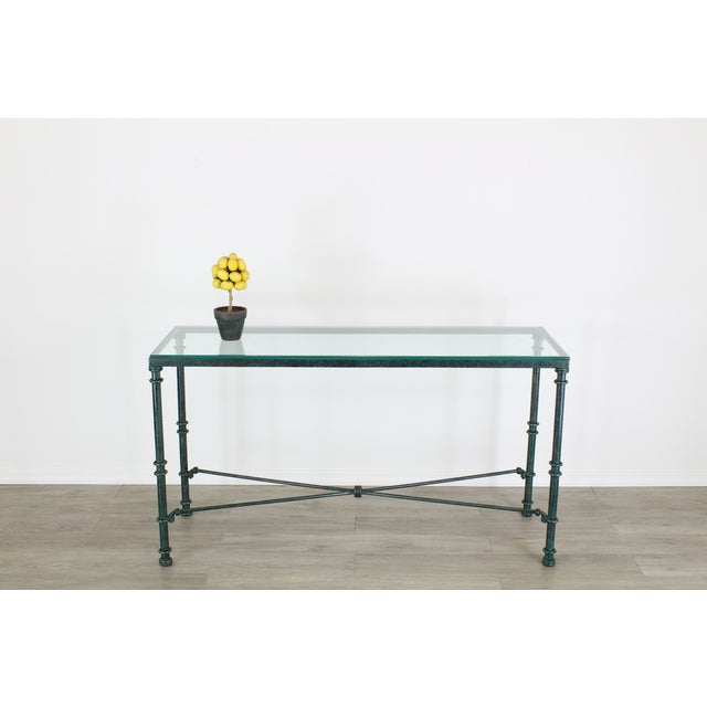 Diego Giacometti style heavy iron forged console table with the original mixed green patina Minor wear, paint loss,...