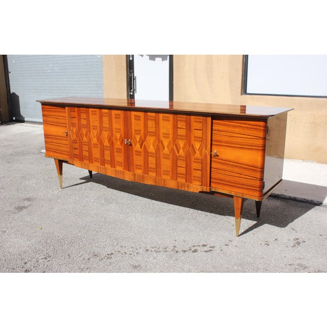 1940s Art Deco Exotic Macassar Ebony Sideboard / Buffet For Sale - Image 4 of 13