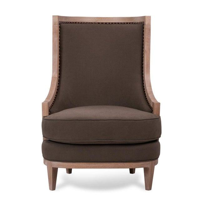 French Royale Wing Chair in Brown For Sale - Image 3 of 5