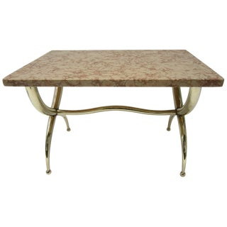 Marble and Brass Side Table For Sale
