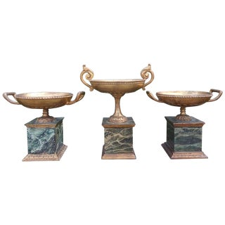 1920s Italian Neoclassical Style Carved Gilt Wood Urns - Set of 3 For Sale