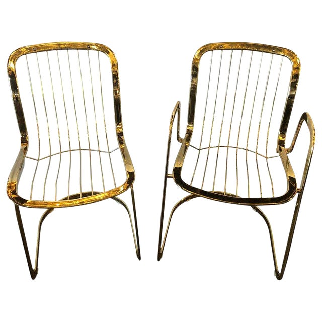 Willy Rizzo for Cidue 8 Dining Chairs Italian 1970s Brass Plated Metal Labelled For Sale