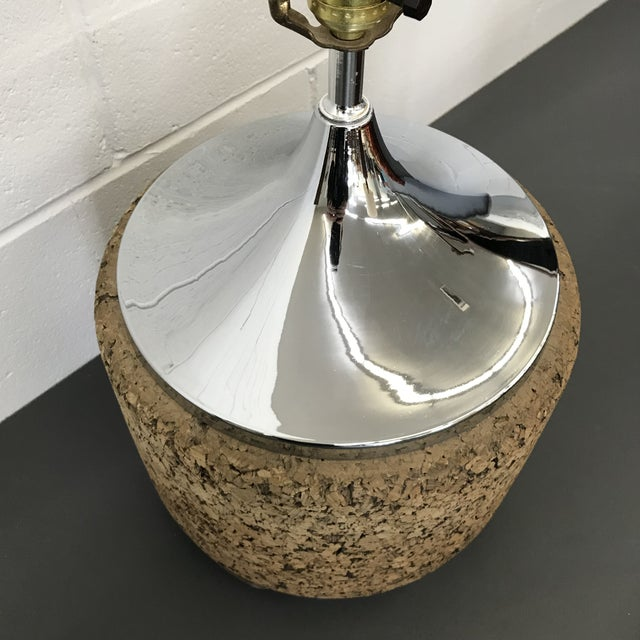 Mid-Century Modern Cork & Chrome Lamp For Sale - Image 5 of 11