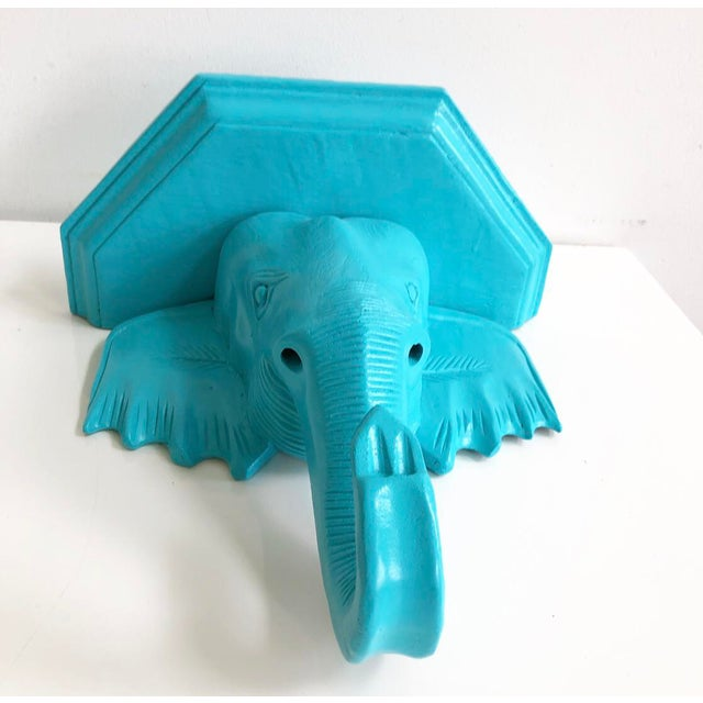 Vintage Turquoise Wooden Painted Chinoiserie Elephant Wall Bracket Shelf For Sale - Image 4 of 8