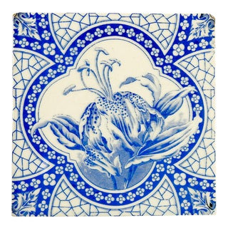 Antique Tiger Lily Victorian Tile For Sale