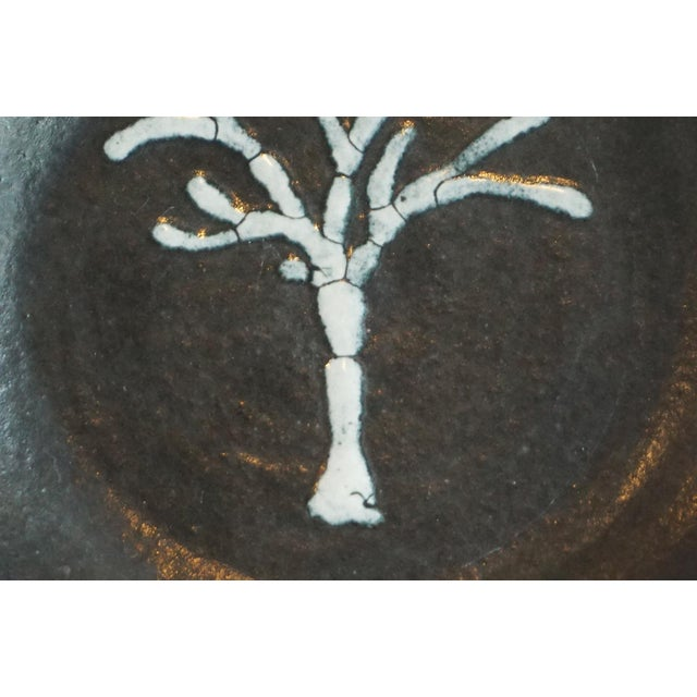 Mid-Century Modern Studio Pottery Black Dish With Tree Motif For Sale - Image 3 of 5