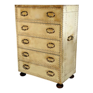1970s Hollywood Regency Sarreid Brass Small Chest of Drawers For Sale