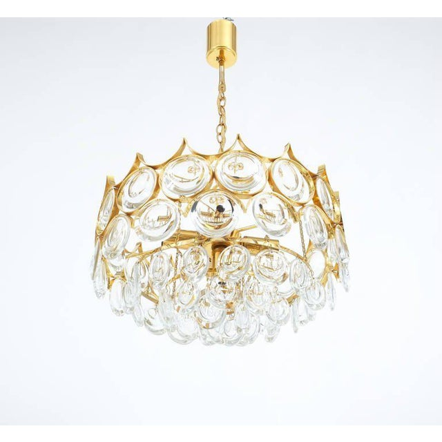 1960s Palwa Pair of Petite Gold Brass Glass Chandeliers Lamps Refurbished, 1960 For Sale - Image 5 of 7