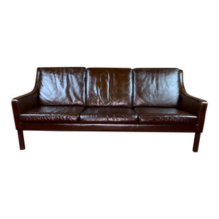 Vintage Borge Mogensen Mid Century Danish Modern Tobacco Brown Leather 3 Seat Sofa For Sale