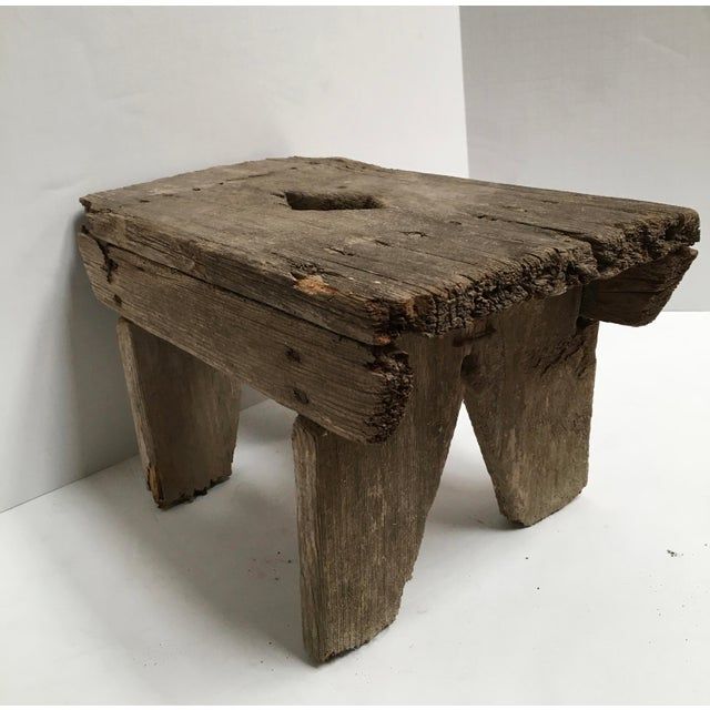 Americana Antique Primitive Handcrafted Farm Stool For Sale - Image 3 of 11