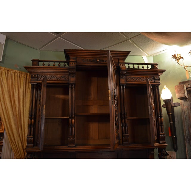 Antique French Ornate Walnut Hand Carved Figural Gothic Bookcase Cabinet For Sale In Chicago - Image 6 of 11