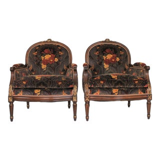 Pair of Louis XVI Bergere Chairs For Sale