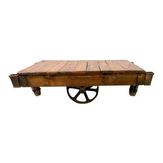 19th Century Industrial Wheeled Trolley Coffee Table For Sale