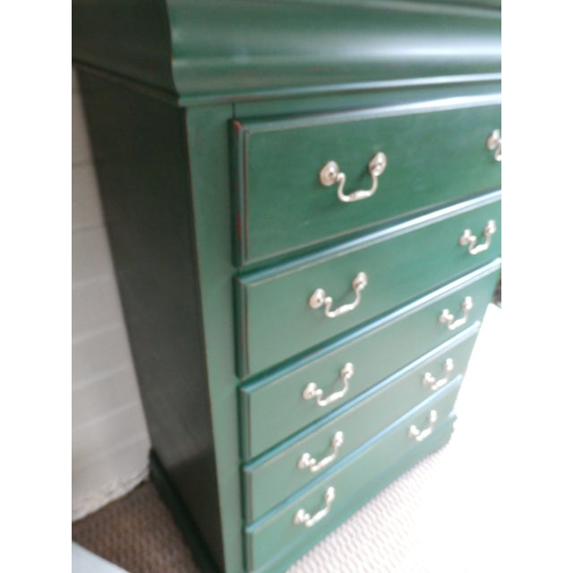 Vintage Hand-Painted Highboy Chest Dresser For Sale - Image 4 of 11