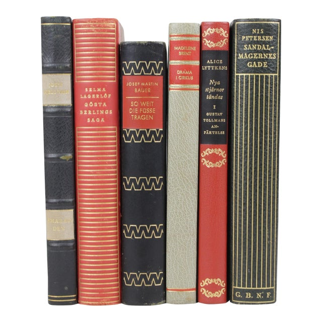 Scandinavian Leather Bound Books - S/6 - Image 1 of 3