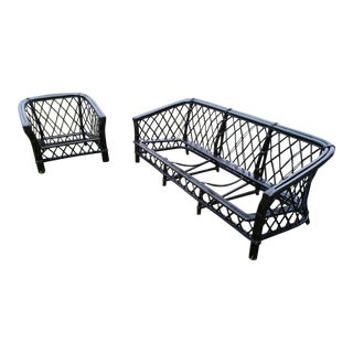 1950s Mid-Century Modern Ficks Reed Rattan Bamboo Lounge Chair & Sofa - a Pair For Sale