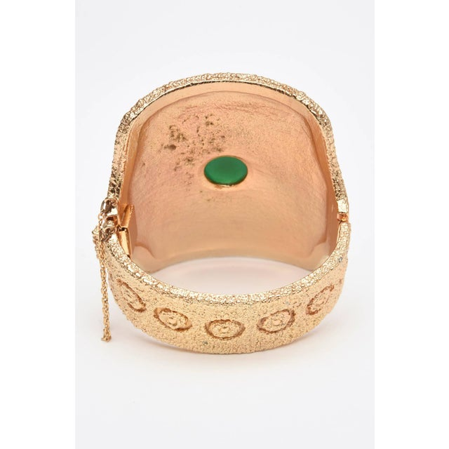 Napier Vintage Napier Textural Gold Plated Green Glass Cuff Bracelet For Sale - Image 4 of 10