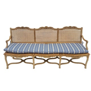 Antique French Caned Three Seat Louis XV Style Settee French Provincial Long Caned Canape For Sale