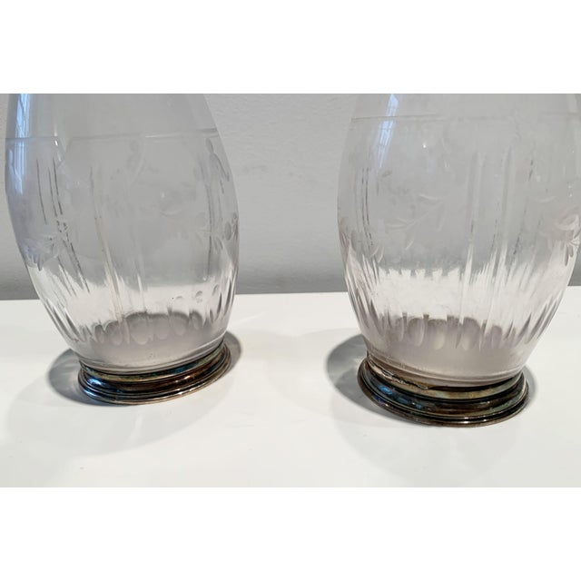 Metal Cut Crystal and Silver Plated Decanters - a Pair For Sale - Image 7 of 11