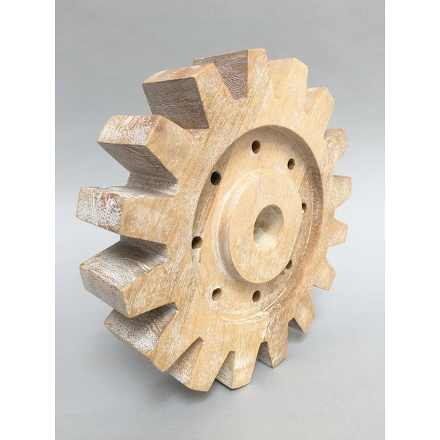 Industrial Industrial Rustic Modern Whitewashed Wood Cog Sculpture For Sale - Image 3 of 10