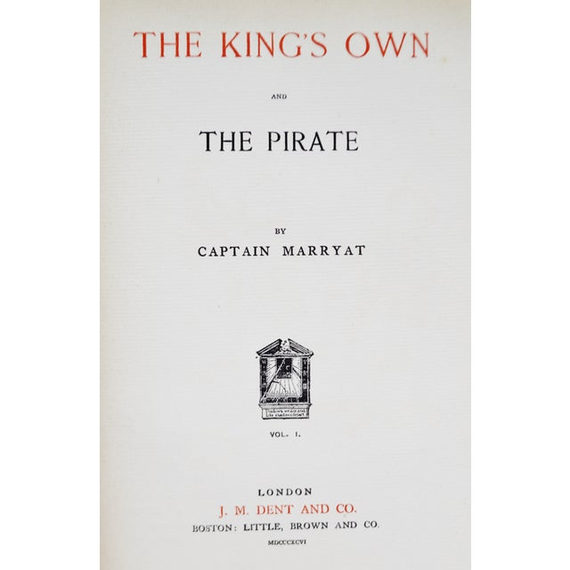 Paper 1896 Captain Frederick Marryat the Phantom Ship & the King's Own Hand-Made Paper Illustrated Books - 3 Volumes For Sale - Image 7 of 13