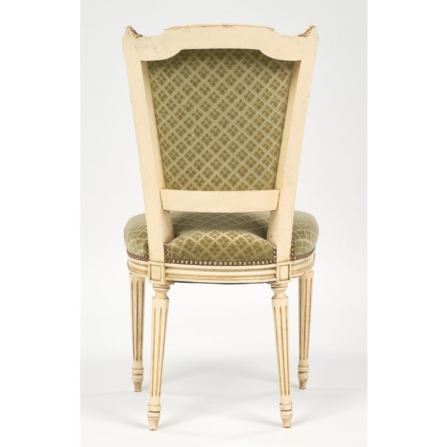 Antique French Louis XVI Style Sage Green Dining Chairs - Set of 6 For Sale  In - Lovely Antique French Louis XVI Style Sage Green Dining Chairs - Set