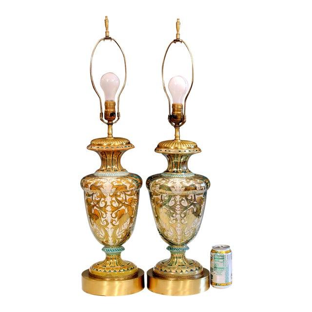 Vintage Gualdo Tadino Luster Pottery Italian Majolica Gargoyle Robbia Lamps - a Pair For Sale