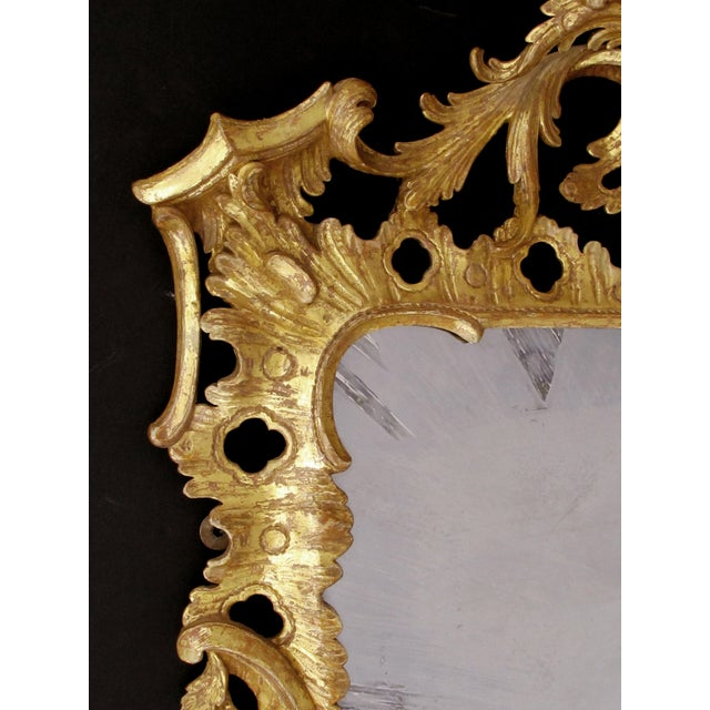 An Elegant and Superbly-Carved English George II Gilt-Wood Mirror With Elaborate Foliate Crest For Sale - Image 4 of 9