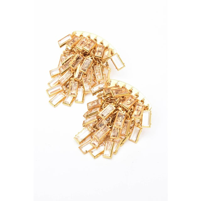 Brass Vintage Italian Gold Tone and Cascading Glass Sculptural Earrings - a Pair For Sale - Image 7 of 8