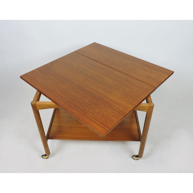 1960s Scandinavian Modern Teak Expandable Two-Tier Bar Serving Cart For Sale - Image 5 of 12