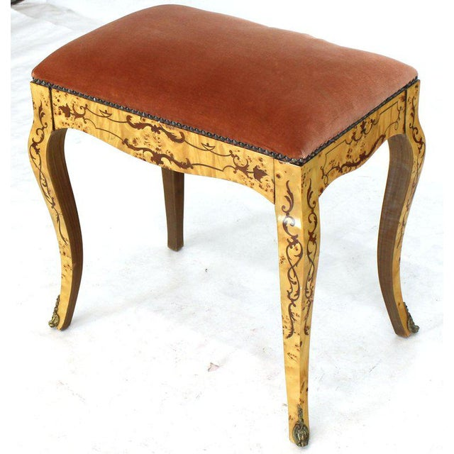 Italian Burl Wood Inlayed Drop Secretary Desk With Matching Bench Bronze Ormolu For Sale - Image 11 of 13