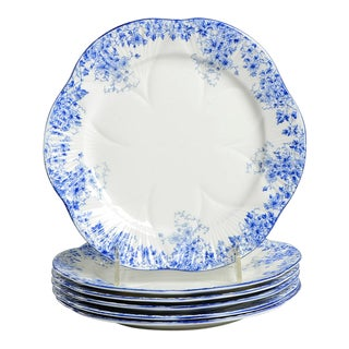 Shelley Dainty Blue Salad Plate Set/6 For Sale