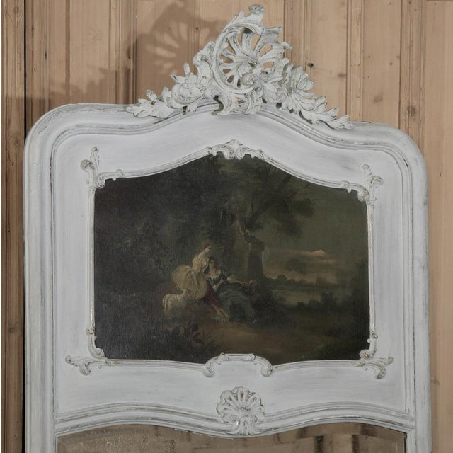 Louis XV 19th Century French Louis XV Painted Trumeau/Mirror For Sale - Image 3 of 8