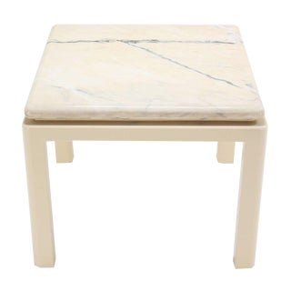 Thick Marble-Top and Enameled Base Midcentury Modern Game or Dining Table For Sale