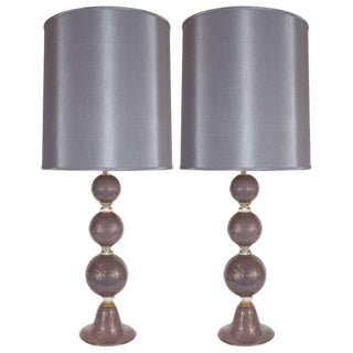 Modernist Hand Blown Murano Lavender Glass Table Lamps - a Pair For Sale