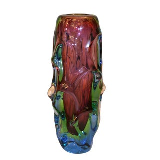 Modern Sculptural Hand Blown Murano Art Glass Flower Vase For Sale